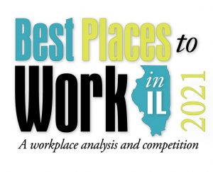 Best Places to Work In Illinois 2021 logo with A workplace analysis and competiton slogan underneath.